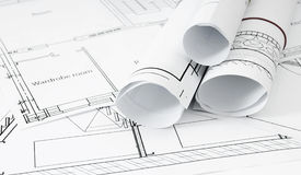 Disegni per la casa di costruzione Disegni esecutivi Fotografia Stock