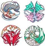 Disegni rotondi del drago Fotografie Stock