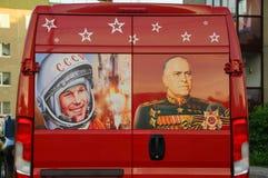 Disegni storici sul bus rosso Immagini Stock Libere da Diritti