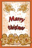 Disegni su un tema di Natale, su un manifesto festivo Fotografia Stock Libera da Diritti