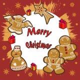 Disegni su un tema di Natale, su una carta di festa Immagini Stock