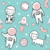 Disegni svegli della mano delle illustrazioni sveglie dei modelli dell'astronauta illustrazione di stock
