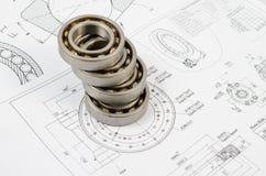Disegni tecnici con i cuscinetti a sfera Fotografie Stock