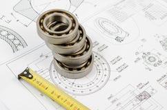 Disegni tecnici con i cuscinetti a sfera Fotografia Stock