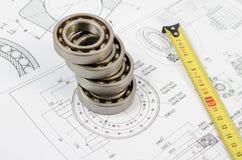 Disegni tecnici con i cuscinetti a sfera Fotografie Stock Libere da Diritti