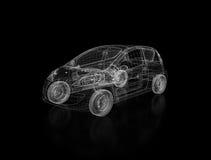 disegno 3D dell'automobile sul nero Fotografie Stock