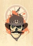 Disegno ad ovest con il cranio del cowboy. Fotografie Stock
