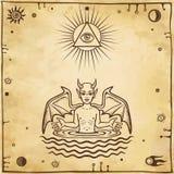 Disegno Alchemical: il piccolo demone nasce dall'acqua Esoterico, mistico, occultismo illustrazione vettoriale