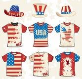 Disegno americano della maglietta di Grunge Fotografie Stock