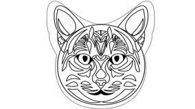Disegno animato capo del gatto Video nella progettazione bianca e nera del profilo illustrazione vettoriale