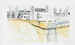 Disegno architettonico della costruzione e dei dintorni Fotografia Stock Libera da Diritti