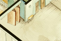 Disegno architettonico parziale isometrico dell'acquerello della pianta dell'appartamento, simbolizzante approccio artistico ad i Fotografia Stock