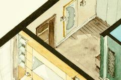 Disegno architettonico parziale isometrico dell'acquerello della pianta dell'appartamento, simbolizzante approccio artistico ad i Fotografia Stock Libera da Diritti