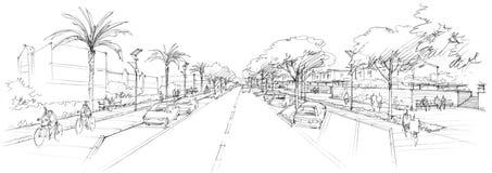 Disegno architettonico rurale di street-1- Immagini Stock Libere da Diritti