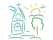 Disegno artistico della chiesa Immagine Stock
