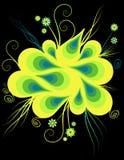 Disegno astratto artistico giallo sul nero Immagine Stock