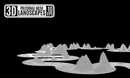 Disegno astratto delle montagne del computer sul nero illustrazione vettoriale