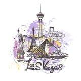 Disegno astratto di colore di Las Vegas Illustrazione di vettore di schizzo di Las Vegas fotografie stock