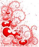 Disegno astratto di giorno dei biglietti di S. Valentino con i cuori. Immagini Stock