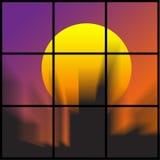 Disegno astratto di una vista della città attraverso una finestra Fotografie Stock