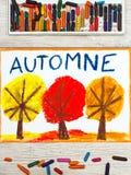 Disegno: Autunno francese ed alberi di parola con le foglie gialle e dell'arancia di rosso, Fotografie Stock