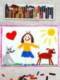 Disegno: Bambina sorridente ed i suoi cani svegli Fotografia Stock