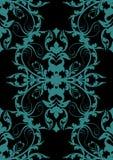 Disegno barrocco blu sul nero Fotografie Stock Libere da Diritti