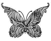 Disegno in bianco e nero astratto della farfalla Immagini Stock Libere da Diritti