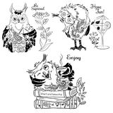Disegno in bianco e nero del gufo di divertimento tre royalty illustrazione gratis