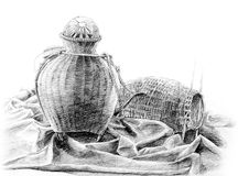 Disegno in bianco e nero del oggetto di vimini di bambù Immagine Stock