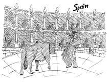 Disegno in bianco e nero di corrida della Spagna con il toro e matador royalty illustrazione gratis