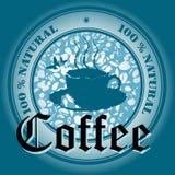 Disegno blu del caffè Immagini Stock Libere da Diritti
