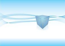 Disegno blu dell'estratto del cubo illustrazione vettoriale