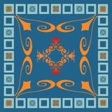 Disegno blu ed arancione quadrato Fotografie Stock Libere da Diritti