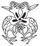 Disegno celtico con lle righe annodate di due uccelli della colomba Immagini Stock