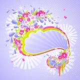 Disegno con le gocce ed i fiori. illustrazione di stock