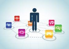 Disegno concentrato utente Apps Fotografia Stock