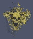 Disegno cornuto diabolico del cranio   Fotografia Stock