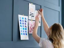 Disegno creativo della tintura del campione dell'acquerello della pittura di arte Immagini Stock