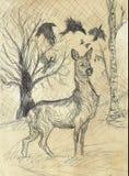 Disegno d'annata dei cervi Fotografia Stock