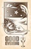 Disegno d'annata del sole, della luna e delle stelle Buon Immagine Stock Libera da Diritti