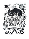 Disegno d'annata a penna ed inchiostro di capitano del pirata per il tatuaggio o la progettazione della maglietta illustrazione vettoriale
