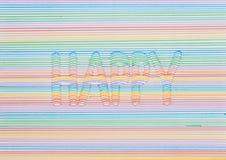 disegno 3d di una parola felice Fotografia Stock Libera da Diritti