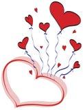 Disegno degli aerostati del cuore Immagini Stock