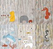 disegno dei bambini con gli animali Immagine Stock