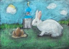 Disegno dei bambini dei simboli di Pasqua dal pastello asciutto Immagine Stock Libera da Diritti
