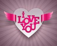 Disegno dei biglietti di S. Valentino con cuore alato Immagini Stock Libere da Diritti