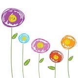 Disegno dei fiori disegnato a mano per il vettore del fondo Fotografia Stock Libera da Diritti