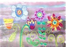 Disegno del bambino dell'acquerello dei fiori Fotografia Stock Libera da Diritti