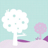 Disegno del blocco per grafici del modello con gli alberi e gli uccelli Fotografie Stock Libere da Diritti